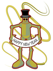 Colorful Robot holding Happy New Year sign