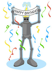 Robot holding Happy Birthday sign above his head