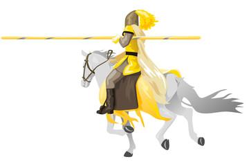 cavaliere medioevale su cavallo bianco