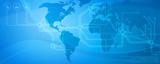 Globale Kommunikation-blau poster