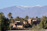 Village in Morocco, Atlas mountains in the background poster