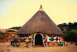 Leinwandbild Motiv Afrikanische Hütte