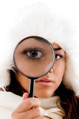 portrait of female holding lens