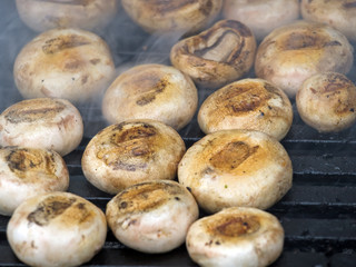 Mushrooms on grill