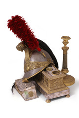Composition with French helmet, inkstand and candlestick