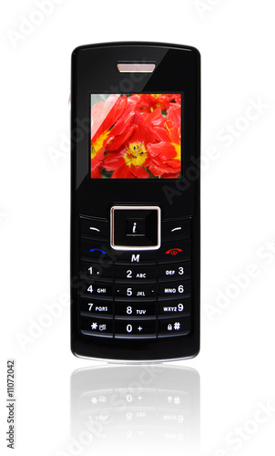 mobile phone with floral wallpaper