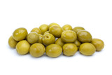 Some green olives with pits poster