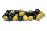 Some green with pit and black pitted olives poster