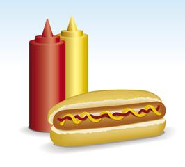 hot dog, tomate y mostaza
