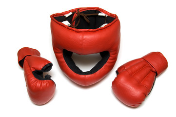Red gloves for hand-to-hand fight and protective helmet