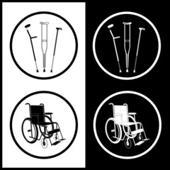 Vector crutches and invalid chair icons. Black and white.