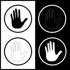 Vector hand icons. Black and white. Simply change.