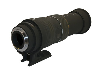 50-500mm telephoto lens isolated on white. All logos removed.