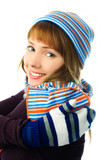 beautiful girl wearing a hat, mittens and scarf poster