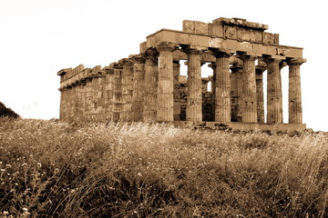 old Italy, Greek temple in Selinunte, Sicily