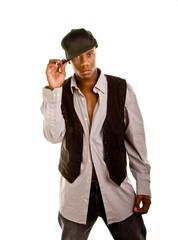 Young Black Man Holding Hat Brim