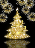 Fototapety Gold Christmas tree on black background