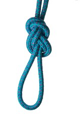 Figure of eight knot on a loop on a blue rope