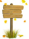 Wooden signboard. Autumn poster