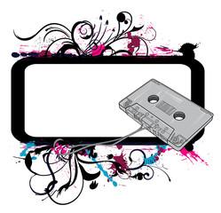 old cassette on a floral frame