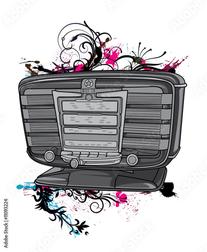 vector illustration of a old radio with floral and grunge