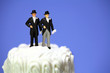 Miniature homosexual couple on a wedding cake. Gay marriage.