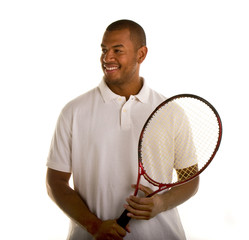 Black Man in White Shirt and Tennis Racket Looking to Side