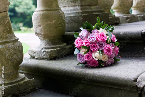 Bouquet of flowers on step