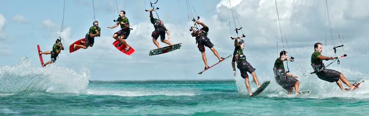 Figure de kitesurf décomposée : le downloop