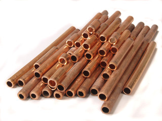 Pile of copper tubing
