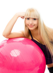 beautiful woman with a fitness ball