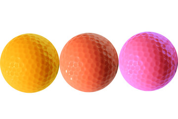 Tree colored isolated golf balls.