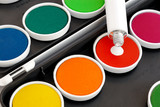 Watercolors with opaque white poster
