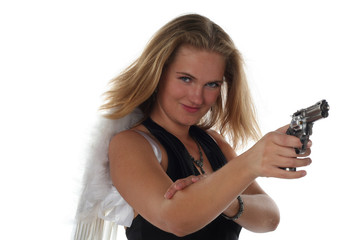 girl like an angel with pistol isolated on white background