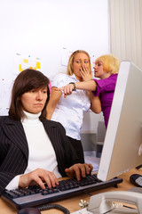 Problems in office relationship. Two gossips