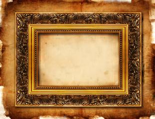 empty frame over grunge paper background