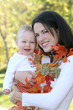 Mother and Baby Boy with Leaves - Fall Theme