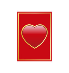 vector red and gold heart