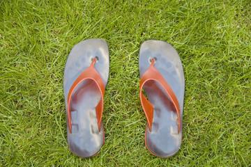 Rote Flip Flops mit Ledersohle auf grŸnem Rasen