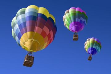 Globos aerostático sobre el cielo azul