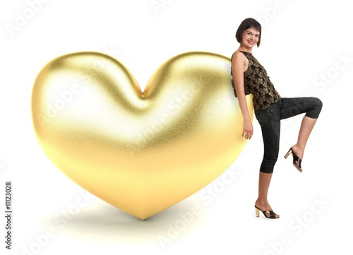 woman with gold heart