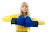 beautiful woman wearing boxing gloves