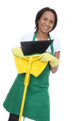 Pretty Maid Holding Broom