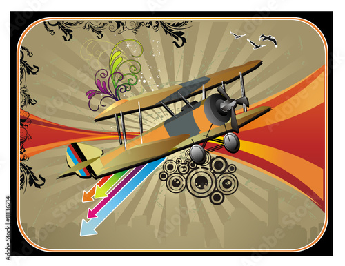 avion antiguo en vector
