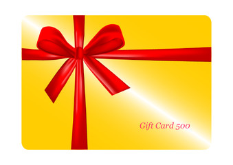 Golden gift card with red ribbon. vector