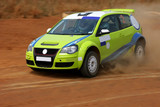 Rally car in a race.