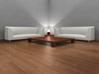 3D modern hall with two sofas