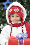 Fototapety Cute girl christmas portrait