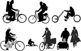 bicyclists - collection of vector silhouettes poster