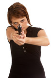 Young Caucasian female protecting herself poster